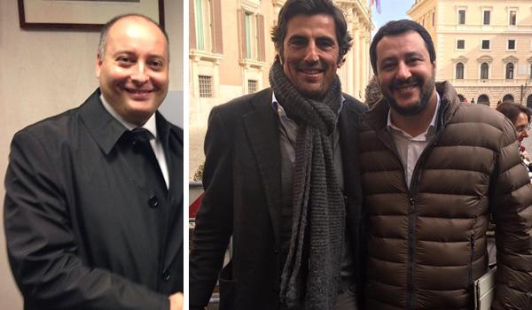 in foto Carlo Aveta, a destra Gianluca Cantalamessa con Matteo Salvini